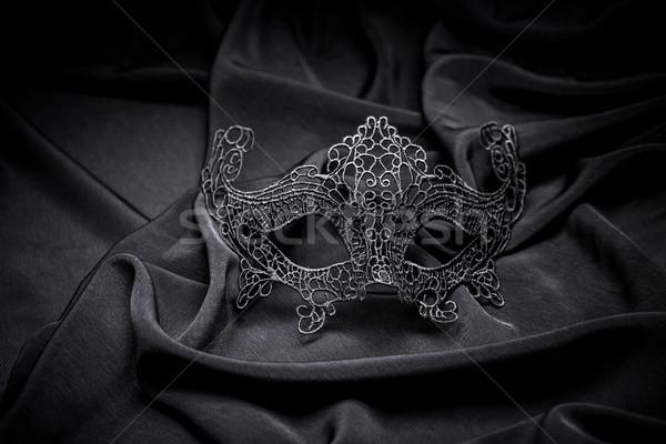 вязанье карнавальных маске черный лице этап Сток-фото © grafvision