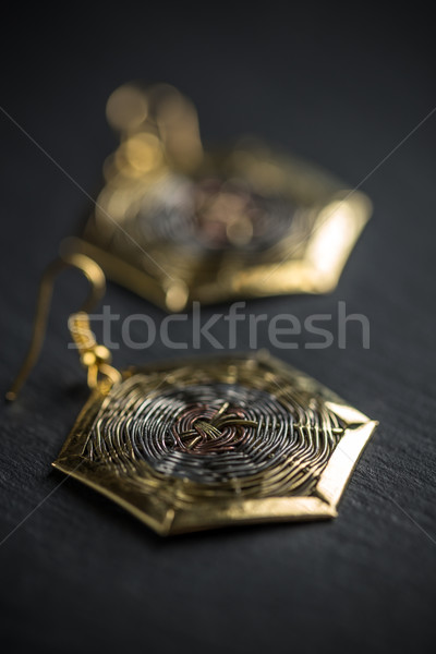 Hexagonal metal earring Stock photo © grafvision