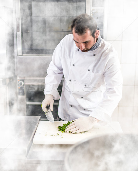 Chef peterselie witte keuken Stockfoto © grafvision