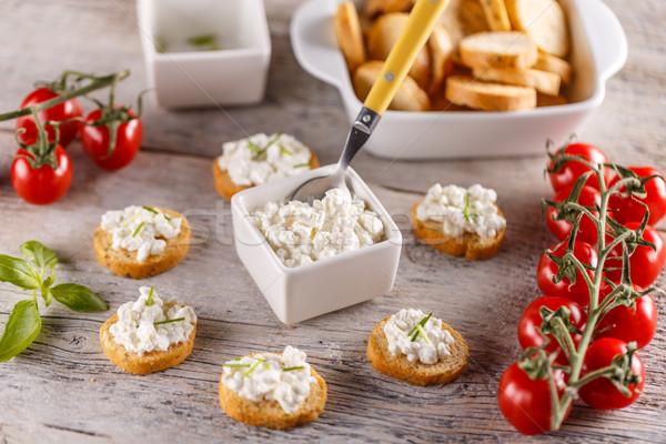 Vers cottage cheese volkoren ontbijt voedsel Stockfoto © grafvision