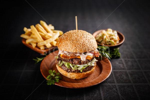 Stok fotoğraf: Taze · lezzetli · Burger · karanlık · peynir · siyah