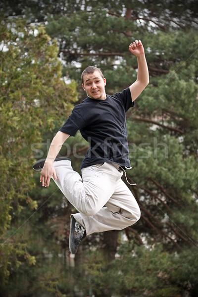 Dansçı atlamak park genç hip-hop adam Stok fotoğraf © grafvision