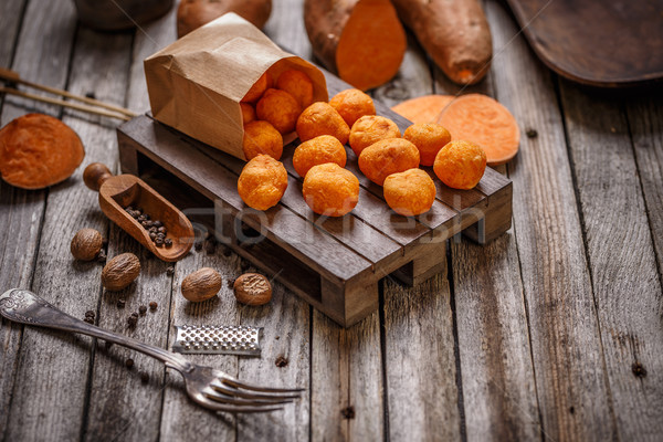 Tatlı patates ahşap gıda arka plan Stok fotoğraf © grafvision