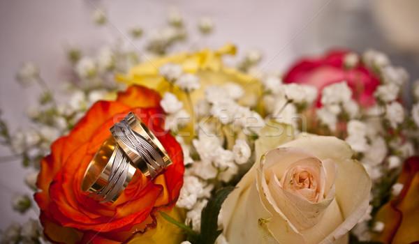 結婚指輪 バラ 結婚式 愛 カップル 金 ストックフォト © grafvision