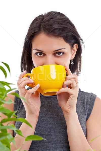 Stockfoto: Vrouw · drinken · hot · thee · mooie · jonge · vrouw