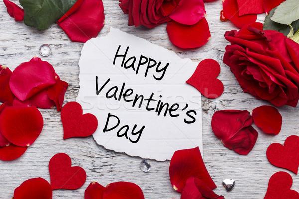 Feliz dia dos namorados cartão rosa vermelha rosa fundo Foto stock © grafvision