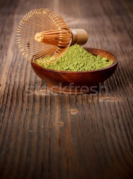 Zöld tea fából készült tál természet ital tea Stock fotó © grafvision