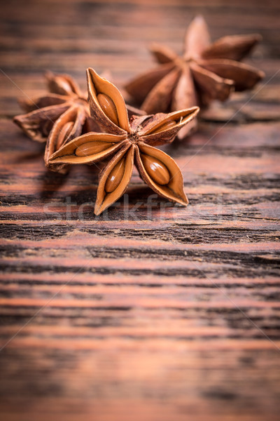 Anís estrellas vintage superficie madera Foto stock © grafvision