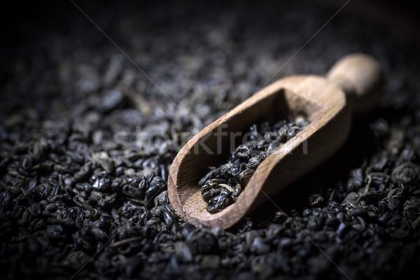 Bois évider noir thé fond cuillère Photo stock © grafvision