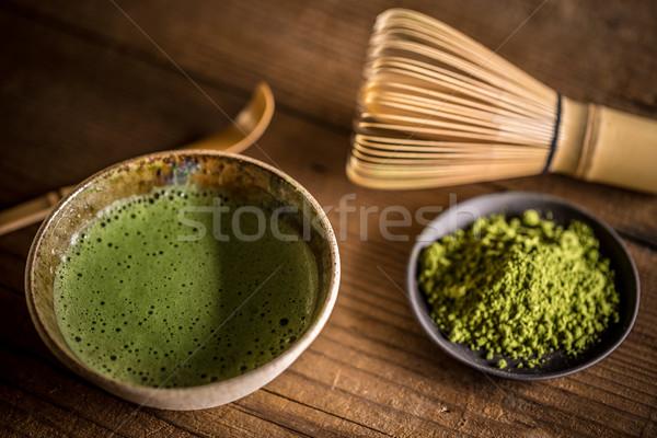 Foto stock: Verde · té · orgánico · tazón · beber · bambú