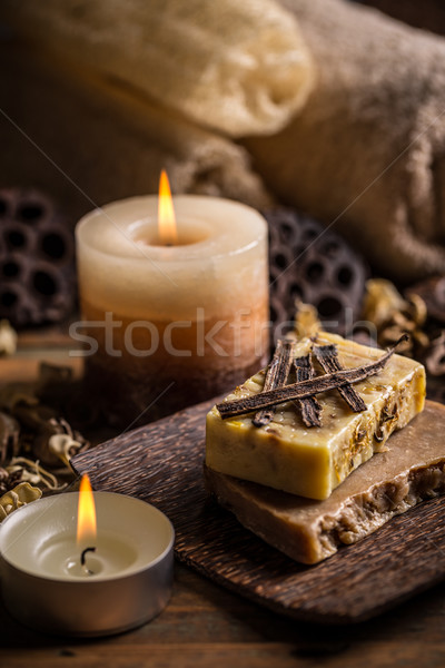 Aromatik spa ayarlamak sabun mum dinlenmek Stok fotoğraf © grafvision