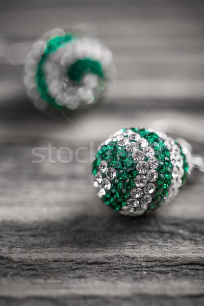 Pendientes par moda verde blanco joyas Foto stock © grafvision