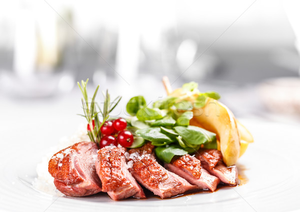 Kaz meme meyve restoran akşam yemeği Stok fotoğraf © grafvision