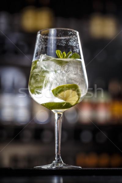 Vers mojito kalk mint bladeren water Stockfoto © grafvision