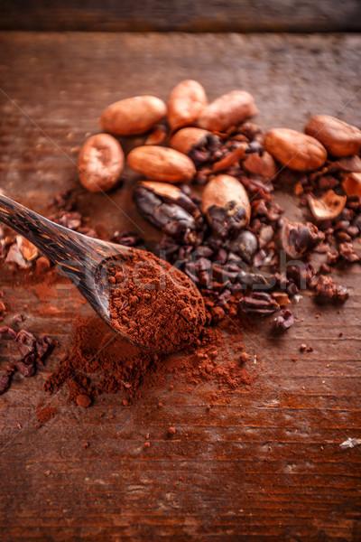 Organik kakao fasulye toz kaşık çikolata Stok fotoğraf © grafvision