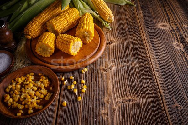 Bouilli maïs sweet espace bois jaune Photo stock © grafvision