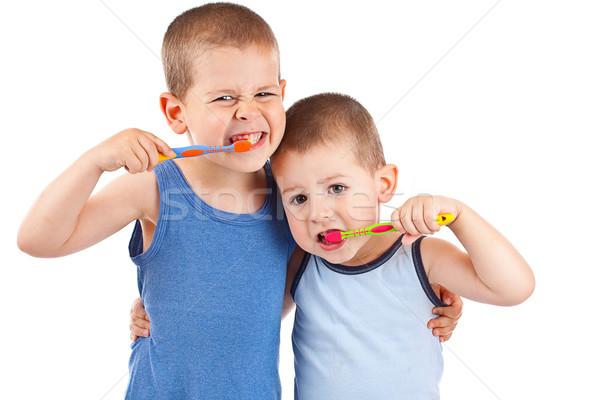 Stockfoto: Jongens · jonge · tandenborstel · geïsoleerd · witte