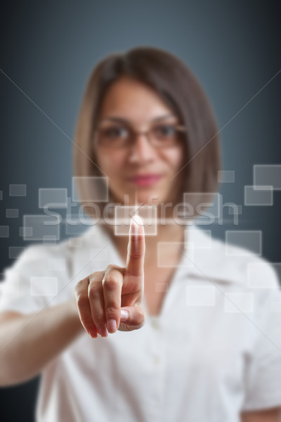 Business woman push high tech type Stock photo © grafvision