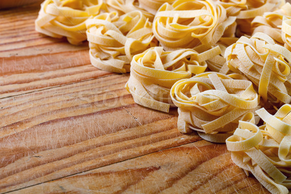 Tagliatelle İtalyan makarna ahşap arka plan yemek Stok fotoğraf © grafvision