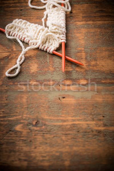 White knitting wool Stock photo © grafvision