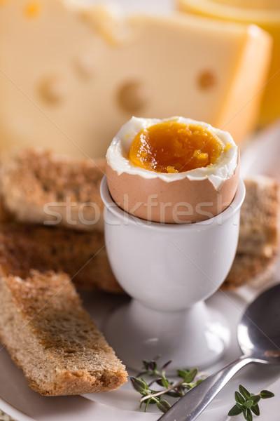 Főtt tojás fehér tojástartó kenyér csésze tiszta Stock fotó © grafvision