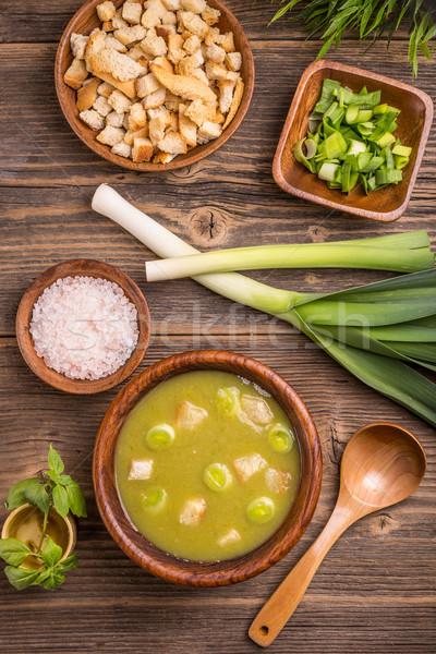 Póréhagyma leves felső kilátás ízletes házi Stock fotó © grafvision
