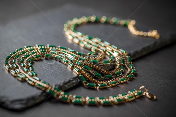 Collana gemme nero bellezza diamante femminile Foto d'archivio © grafvision