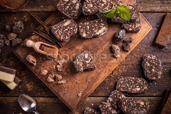 Keksz csokoládé szalámi édes fából készült torta Stock fotó © grafvision