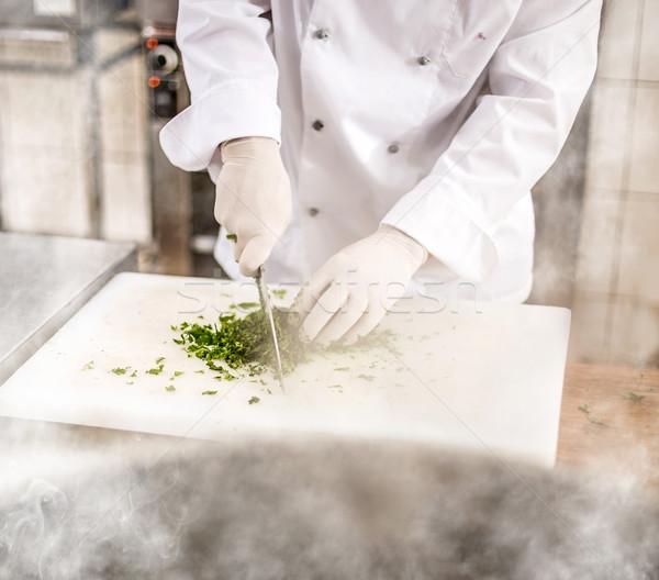 Chef peterselie bladeren mes Stockfoto © grafvision