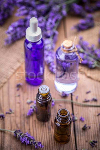 Fles vers lavendel bloemen lichaam Stockfoto © grafvision