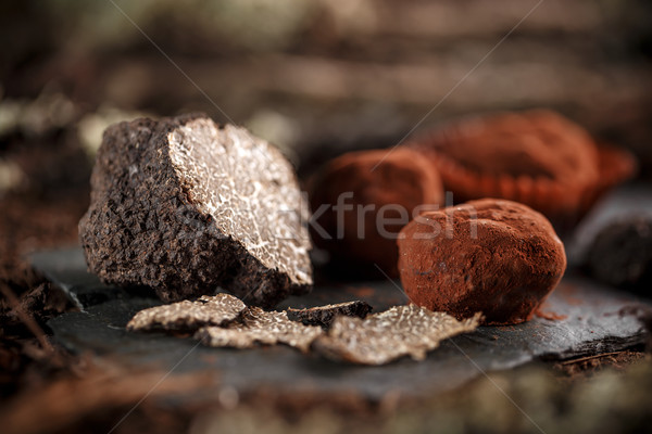 Stock photo: Dark chocolate praline