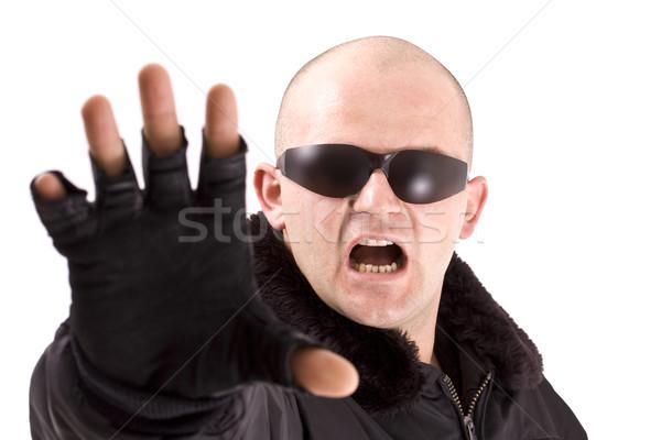 Férfi afroamerikai férfi fekete öltöny nap szemüveg izolált Stock fotó © grafvision