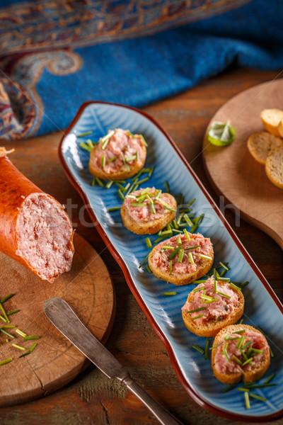 Bruschetta carne antipasto piatto Foto d'archivio © grafvision