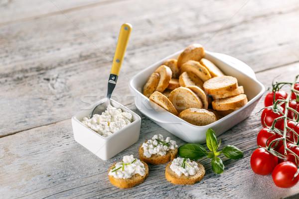 Bruschetta sandviç süzme peynir ahşap gıda peynir Stok fotoğraf © grafvision