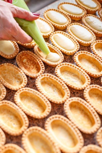 小 ペストリー バニラ クリーム 食品 ケーキ ストックフォト © grafvision