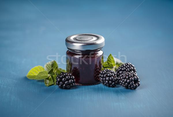 домашний BlackBerry желе синий продовольствие стекла Сток-фото © grafvision