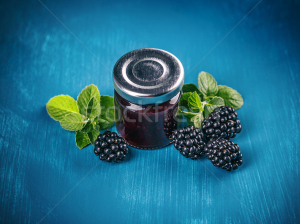 Jar with blackberry jam Stock photo © grafvision