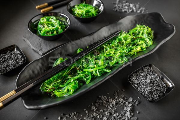 Alga salada servido tradicional comida japonesa preto Foto stock © grafvision
