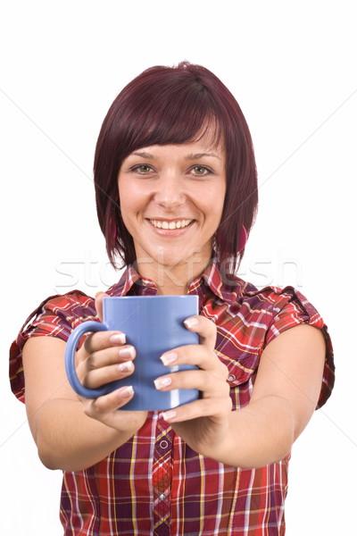 Mujer taza té retrato hermosa Foto stock © grafvision