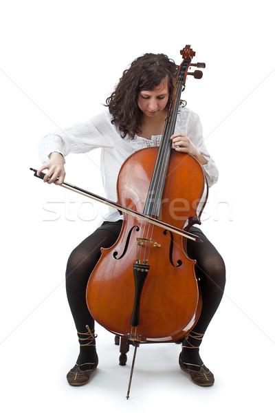 Jovem violoncelista jogar violoncelo branco cara Foto stock © grafvision