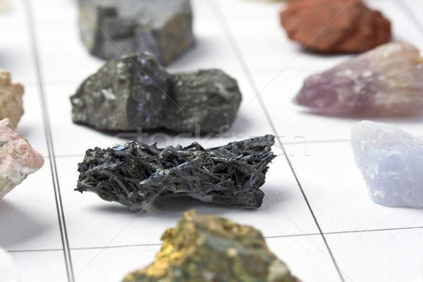 Raccolta minerali metal rock bianco giallo Foto d'archivio © grafvision