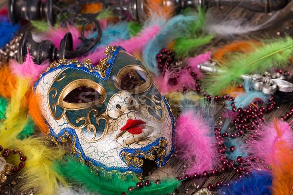 カーニバル マスク 羽毛 パーティ 背景 ストックフォト © grafvision