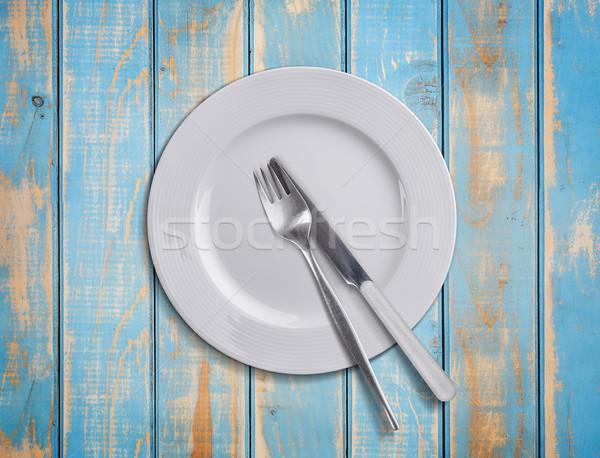 盤 刀具 藍色 叉 商業照片 © grafvision