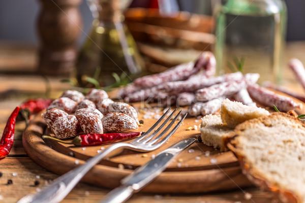 Szett szalámi kolbászok felszolgált friss kenyér Stock fotó © grafvision