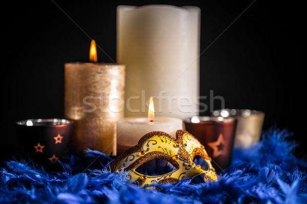 ベニスの カーニバル マスク キャンドル 青 羽毛 ストックフォト © grafvision