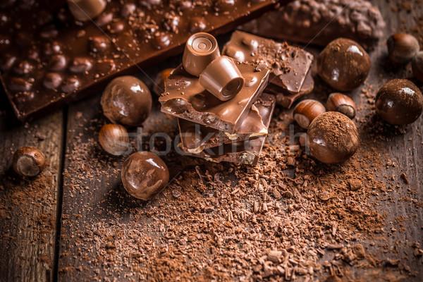 Stock fotó: Csokoládé · rácsok · boglya · sötét · desszert · édes