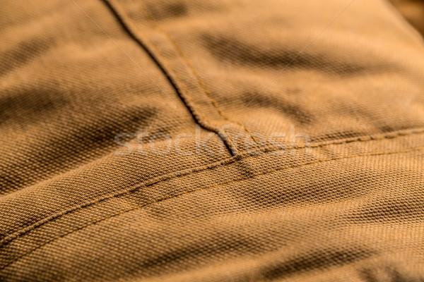 Puntada marrón abrigo primer plano tela textiles Foto stock © grafvision