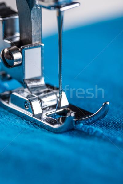 Maszyny do szycia tkaniny pracy niebieski przemysłu Zdjęcia stock © grafvision