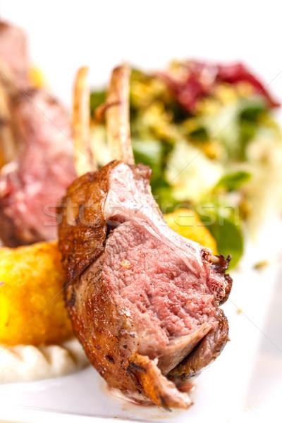 Cordeiro costelas servido almoço comida Foto stock © grafvision