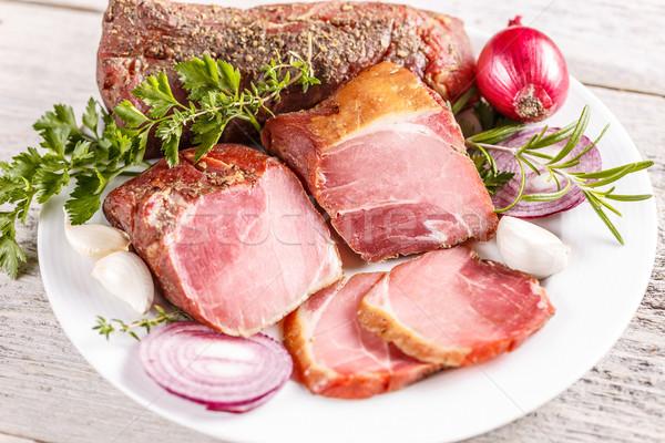 Fumé blanche plaque alimentaire montagne viande Photo stock © grafvision